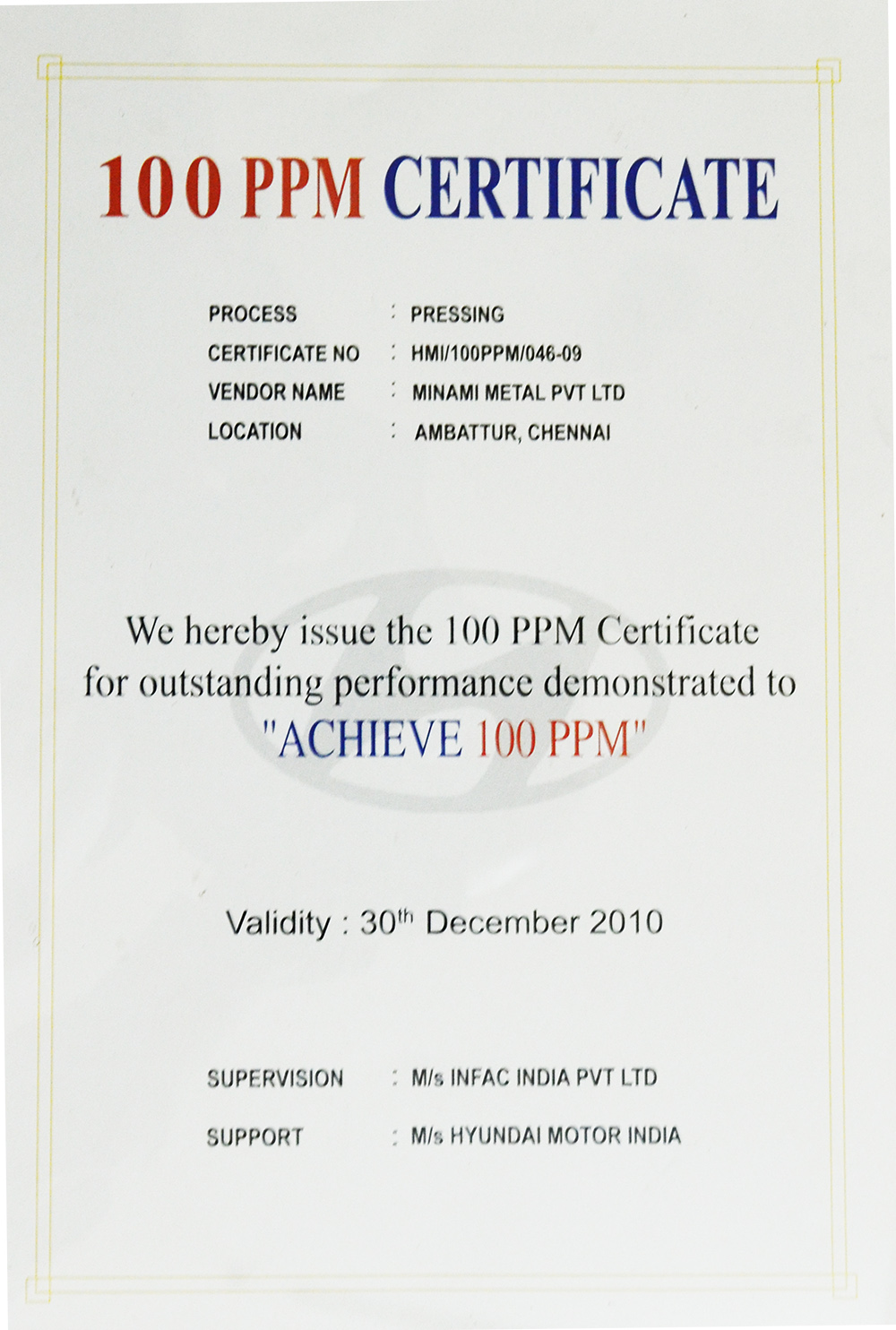 Hyundai >> Certifications & Awards – Minami Metals